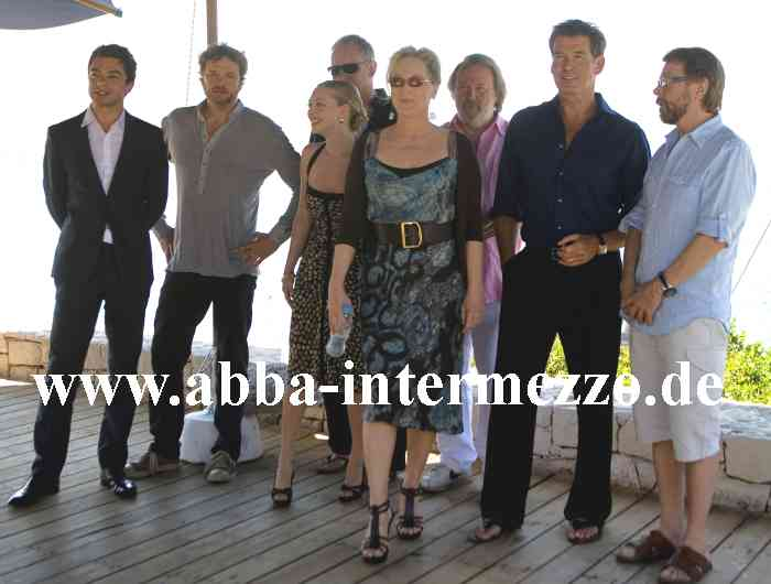 Dominic Cooper, Colin Firth, Amanda Seyfried, Stellan Skarsgård, Meryl Streep, Benny, Pierce Brosnan and Björn - Photo by Milos Bicanski