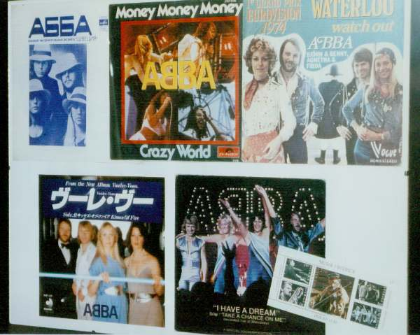 Record sleeves and the ABBA stamp (lower right corner)
